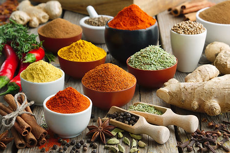 Various aromatic colorful spices and her