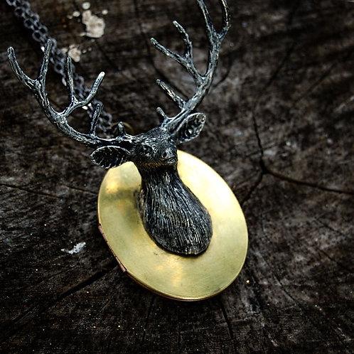 Vintage Deer Locket Necklace