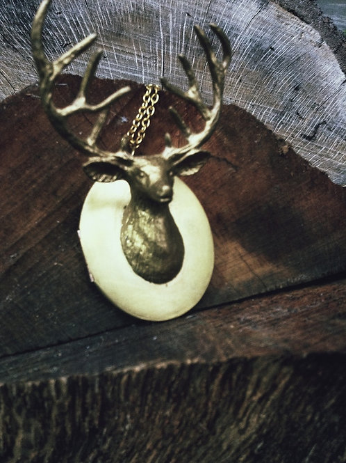 Gold Deer Locket Necklace