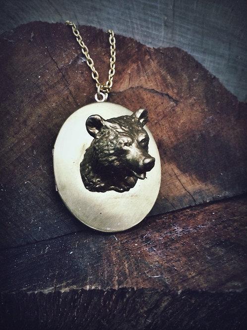 Gold Bear Locket Necklace