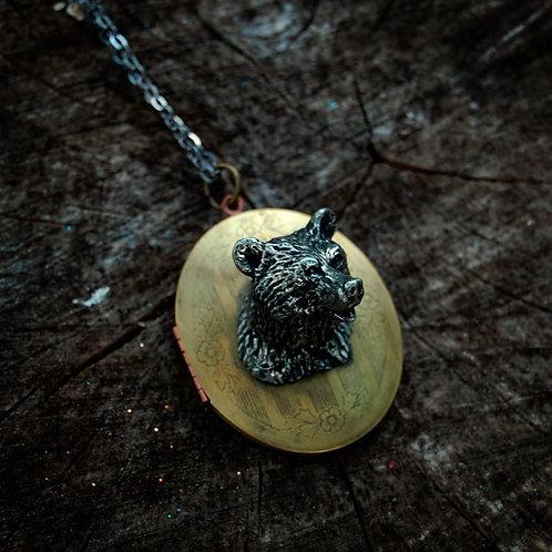 Vintage Bear Locket Necklace