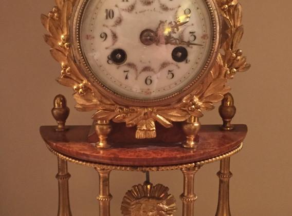 14 Antique Mantel Clock, works signed Ti