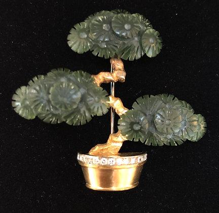 Jade & Gold Bonsai Pin