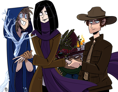 Four characters shaking hands. From left to right, they are a boy in a blue robe, an android wearing a long purple scarf, an old woman wearing a dark red hat, and a man in cowboy costume.