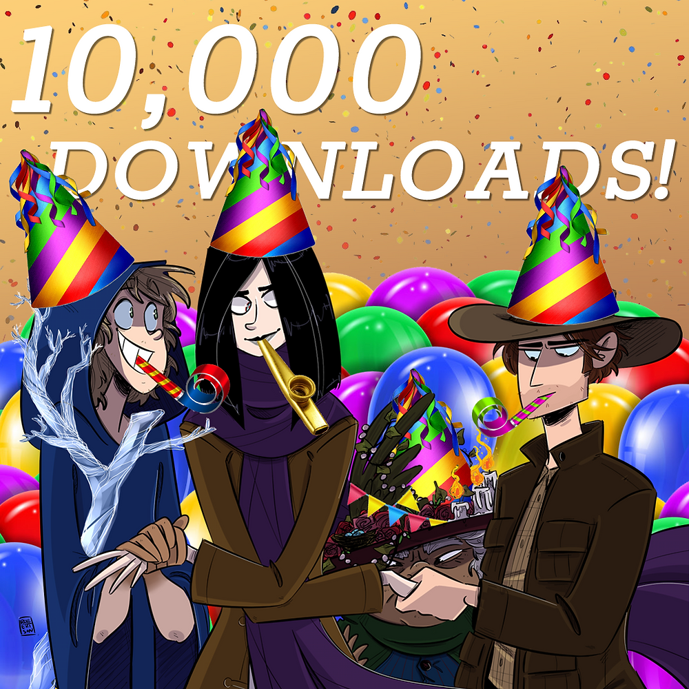 "The heroes of Quest Friends wearing party hats. Behind them, text reads ""10,000 Downloads!"""