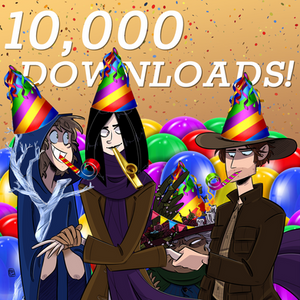 """The heroes of Quest Friends wearing party hats. Behind them, text reads """"10,000 Downloads!"""""""