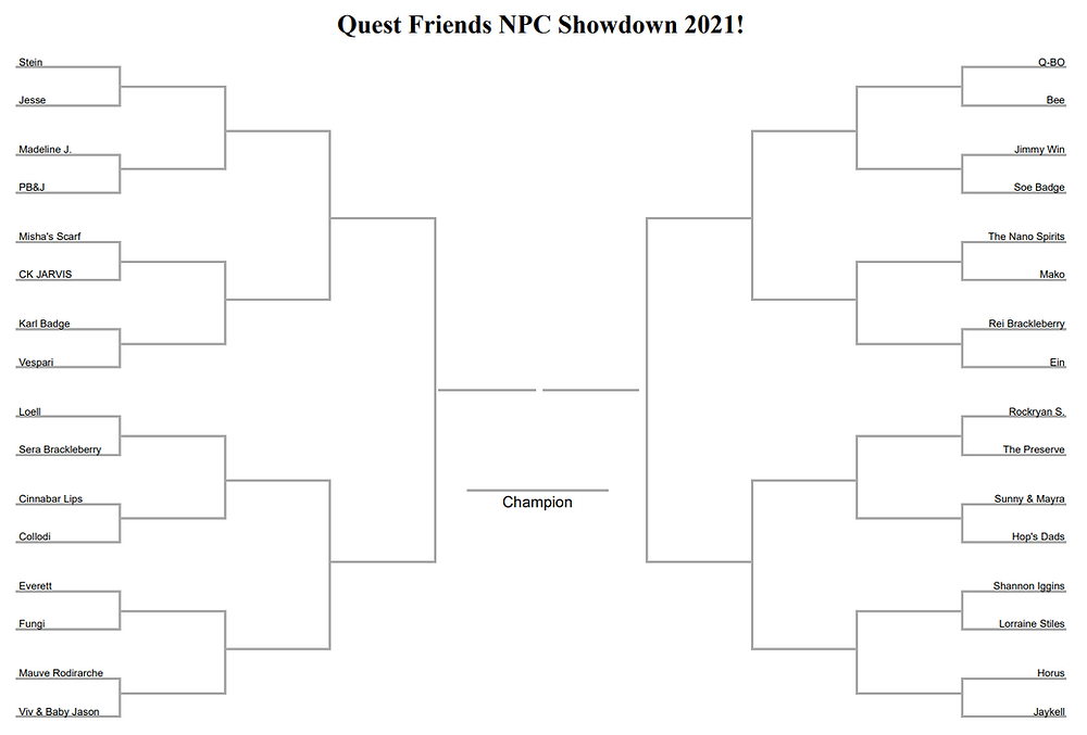 "A bracket for the Quest Friends NPC Showdown 2021. Here are the qualifier rounds. First Round: Stein vs. Jesse Second Round: Madeline Jefferjames vs. Poppy, ""Black-Eyed"" Susan, and Jonquill Third Round: Misha's Scarf vs CK JARVIS Fourth Round: Karl Badge vs. Vespari Fifth Round: Loell vs. Sera Brackleberry Sixth Round: The Lady with Cinnabar Lips vs. Dr. Signus Collodi Seventh Round: Everett vs. Fungi Eighth Round: Mauve Rodirarche vs. Viv & Baby Jason Ninth Round: Q-BO vs. Bee Tenth Round: Jimmy Win vs. Soe Badge Eleventh Round: The Nano Spirits vs. Mako Twelfth Round: Rei Brackleberry vs. Ein Thirteenth Round: Rockryan Shanksfossil vs. The Preserve Fourteenth Round: Sunny & Mayra vs. Dad Alvin & Dad Theo Fifteenth Round: Shannon Iggins vs. Lorraine Stiles Sixteenth Round (From Xoc's Memory, Part 1): Horus vs. Jaykell"