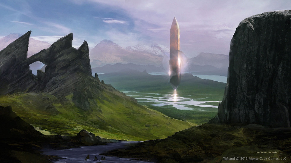 An image of a science fiction mountain range. In the distance, a large obelisk floats above a lake.