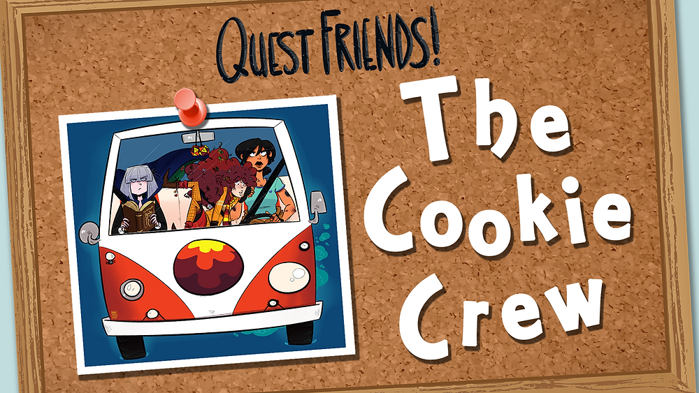 "A corkboard with a picture of three women in a Volkwagen van. The text reads ""Quest Friends: The Cookie Crew"""