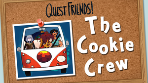 """A corkboard with a picture of three women in a Volkwagen van. The text reads """"Quest Friends: The Cookie Crew"""""""
