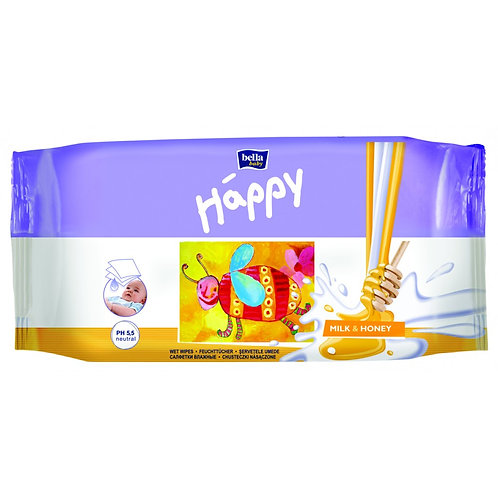 Влажные салфетки bella baby Happy Молоко и Мед 64 шт.