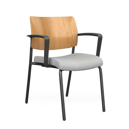 SitOnIt Focus Solid Wood Back Fixed Arm Guest Chair