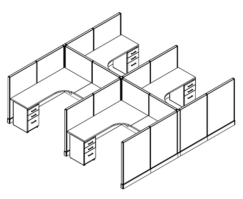 4 Pack - 6x6 Cubicles