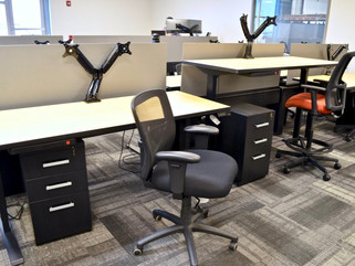 Cubicles with Sit stand desks and chairs