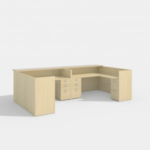 Amber 2 L-Desk. Reception with Wood or Glass Transaction Top
