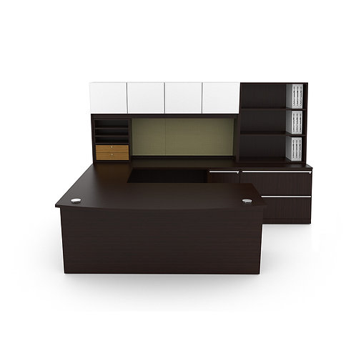 Verde U Shaped Desk w/ Hutch & Lat/Bookcase Combo