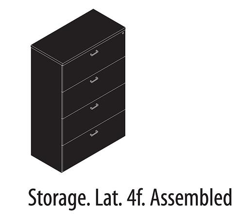 Amber Storage Lateral File 4 Drawer Locking