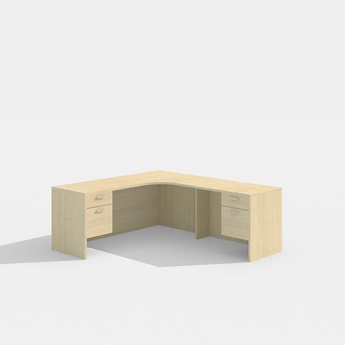 Amber L-Desk CC w/ Suspended Peds