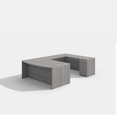 Amber U-Desk Bowfront with Drawers