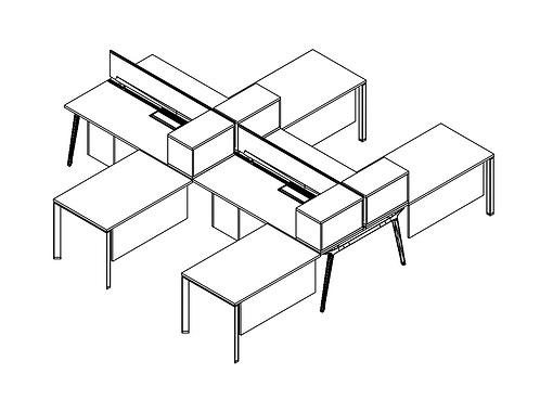 4 Pack - Verity 6x6 Benching Workstations