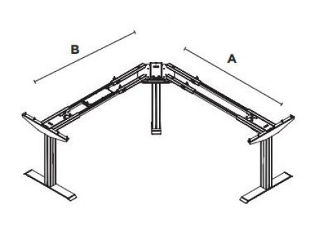 My-Hyte 2 Stage Height Adjustable Table Base - Corner
