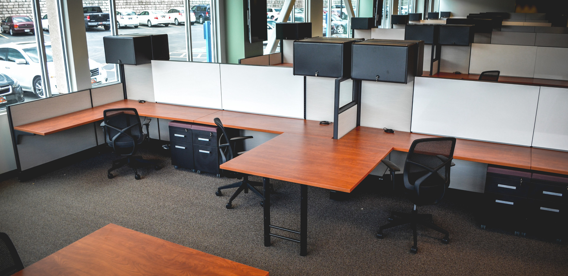 6X6 collaborative work stations with individual overhead storage, whiteboard and mobile pedestal