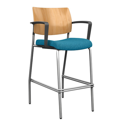 SitOnIt Focus Solid Wood Back Side Counter/Bar Stool