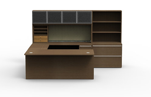 Verde U Shaped Desk w/ Hutch & Lat/Bookcase Combo