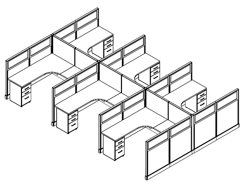 6 Pack - 6x6 Cubicles w/ Glass