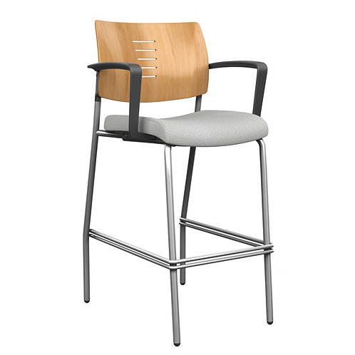 SitOnIt Focus Slotted Wood Back Side Counter/Bar Stool