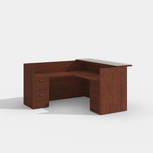 Amber L-Desk. Reception with Wood or Glass Transaction Top