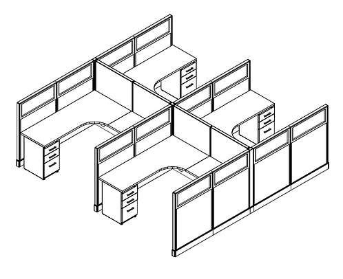 4 Pack - 6x6 Cubicles w/ Glass