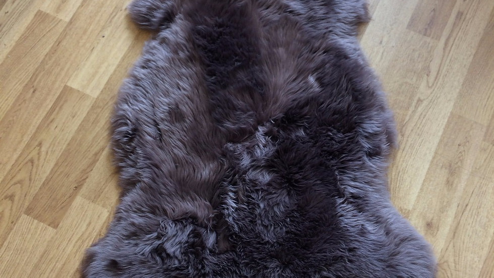 Real Long Haired Sheepskin Rug in Mushroom