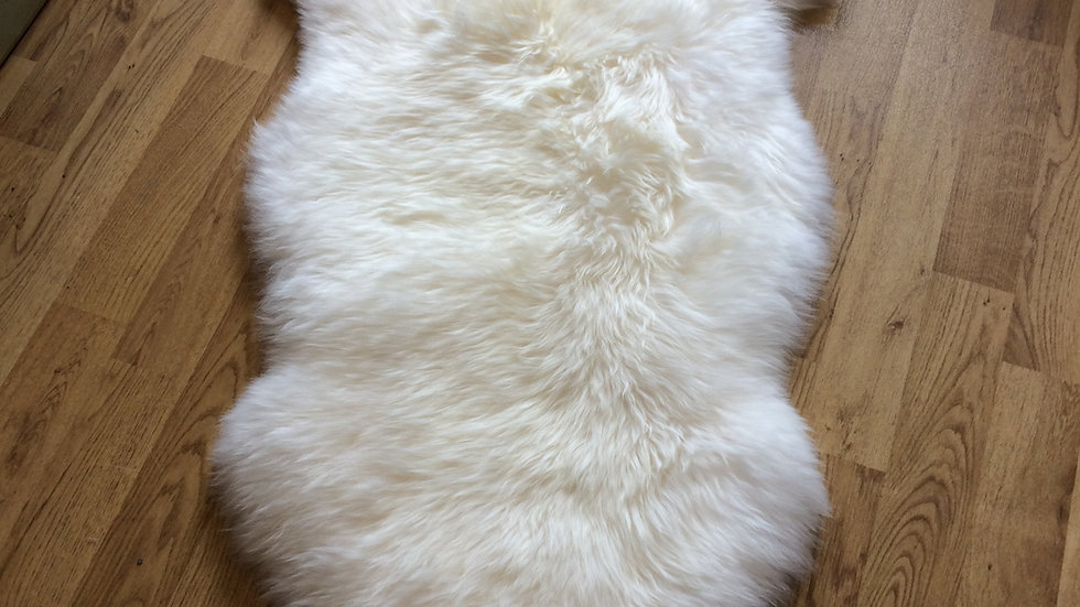 Real Long Haired Sheepskin Rug in White