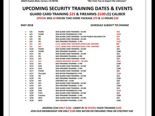 MAY TRAINING SCHEDULE