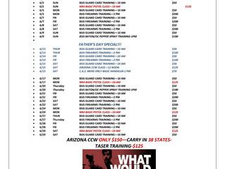 June's Training Schedule