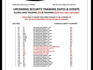 JULY TRAINING SCHEDULE