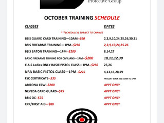 OCT TRAINING SCHEDULE