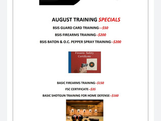 August Training SPECIALS!!