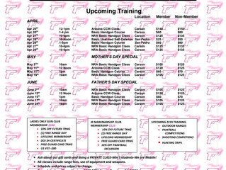 C.A.S. Ladies ONLY May Training Schedule