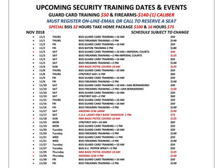 NOV Security Guard Training Schedule