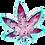 Thumbnail: Beautiful Teal and Red, Marble-like Marijuana Leaf Ashtray or Trinket Tray