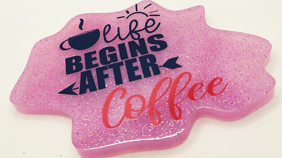 """Life Begins After Coffee Coaster"