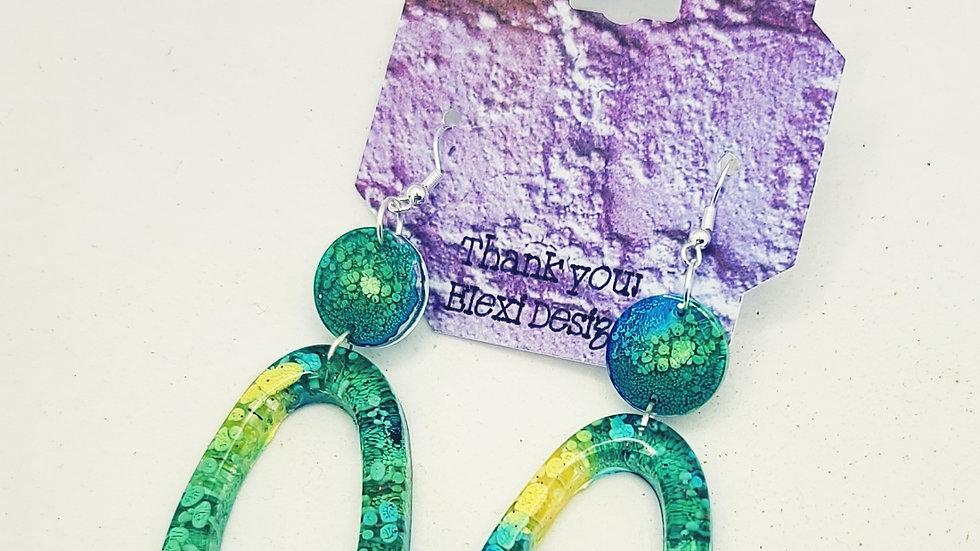 Alcohol Ink Oval Dangle Earrings