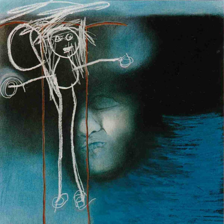 Dans l'attente d'un regard - Pastel - 45 x 45cm -1989