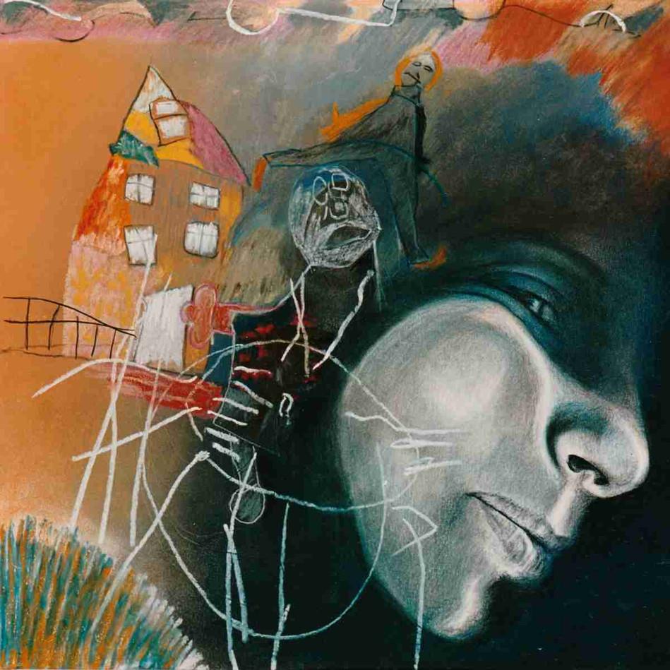 Au début de la nuit, l'amour chasse la rue - Pastel - 45 x 45cm - 1989
