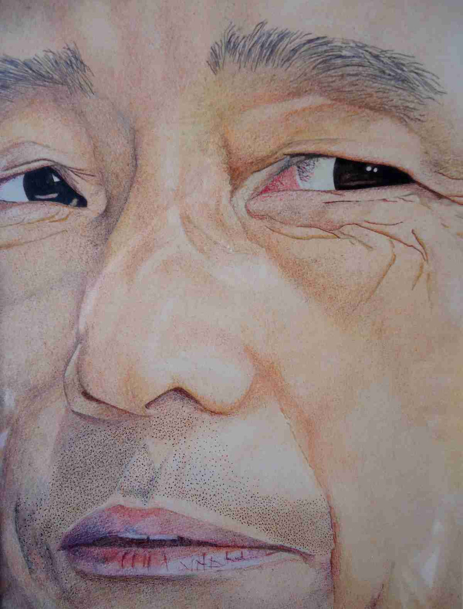 Fragment de visage Pastel et crayons de couleur - 23 x 17,5cm - 1984