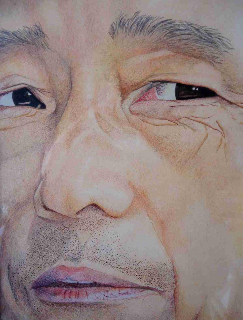 Fragment de visage - Pastel et crayons de couleur  23 x 17,5cm - 1984