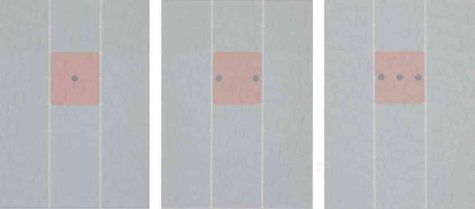 Triptyque - Post-it et pastilles noires sur feuille d'étiquettes 21 x 29,7cm -2006