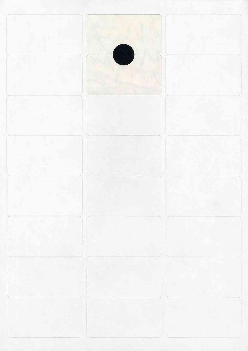 Pastille noire sur feuille d'étiquettes - 21 x 29,7cm - 2006